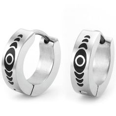 Quality Abstract Design Stainless Steel Hoop Earrings for Men (Silver Black) - Free Shipping: http://www.amazon.com/Quality-Abstract-Design-Stainless-Earrings/dp/B0064779YS/?tag=greavidesto05-20
