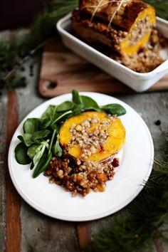Butternut stuffed with buckwheat, chickpeas and cranberries