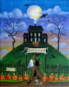 Haunted House Halloween Folk Art Print by KimsCottageArt on Etsy Halloween Haunted Houses, Spooky Halloween, Vintage Halloween, Happy Halloween, Halloween Decorations, Halloween Artwork, Halloween Painting, Halloween Pictures, Hallowen Ideas