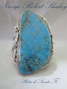 "Beyond HUGE Kingman Turquoise 925 Cuff by Navajo ROBERT SHAKEY  4"" Tall 5.9 OZ!"