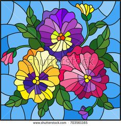 Illustration in stained glass style with flowers, buds , leaves and flowers of pansy