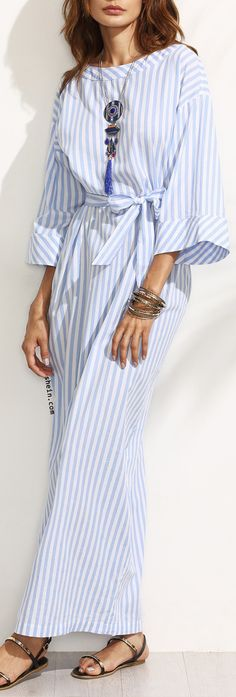 Blue Striped Bow Waist Maxi Dress.
