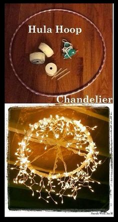 Hula Hoop DIY create an awesome homemade chandelier, perfect for room decorations, or even tree house lights