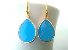 Ocean Blue Synthetic Stone Drop Earrings, Dangle earrings, wedding Earrings. $26.00, via Etsy.