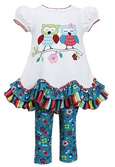 Bonnie Baby Baby Girls Owl Applique Legging Set Ivory 24 Months ** Read more at the image link.