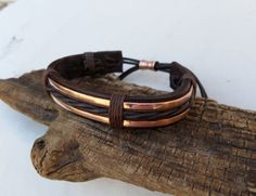 Leather and Copper Bracelet Men's Leather and por ColeTaylorDesigns
