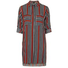 TopShop Oversized Stripe Shirt Dress ($75) ❤ liked on Polyvore featuring dresses, long shirt dress, boyfriend shirt dress, striped jersey dress, topshop and button down dress