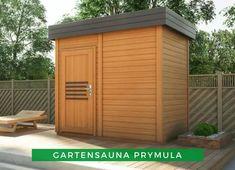 Sauna Ideen: Die Gartensauna Prymula eignet sich hervorragend als Erholungsort im eignen Garten. Entspannen Sie bei einem Saunagang und ruhen Sie sich anschließend im Grünen aus. Genießen Sie eine Auszeit in Ihrer neuen Sauna! Garage Doors, Shed, Outdoor Structures, Outdoor Decor, Home Decor, Sauna Ideas, Time Out, Recovery, Places