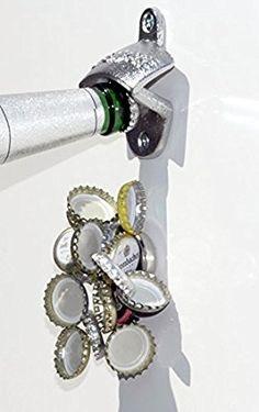 Wand-Flaschenöffner WALLY+NEODYMMAGNET / Wandflaschenöffner / Flaschen-Öffner mit Fang-Magnet, klein / Magnetfalle für ca. 15 Kronkorken
