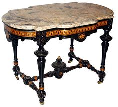 Reference No. Item: Spectacular Victorian Marble Top Table by Herter Brothers. Spectacular Victorian table by Herter Brothers with ebonized inlaid base and original marble top. Furniture Near Me, Marble Top, All Modern Furniture, Victorian Parlor, Art Deco Table, Furniture, Marble Table Top, Parlor Table, Painting Wooden Furniture