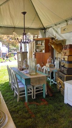 a Welcoming tent interior
