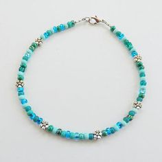 Seed Bead Ankle Bracelet, Turquoise and Aqua, Seed Bead Anklet, Sea Turtle, Fish, Flower, Beaded Ankle Bracelet, Girls Size, Plus Size