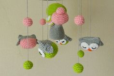 Woodland mobile forest mobile nursery decor pink by UAmadeForYou