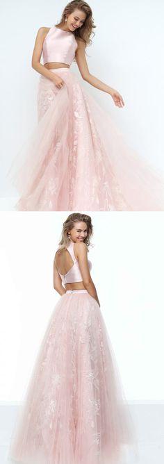 Long Prom Dresses, Satin Prom Dresses, A-Line Party Dresses, Tulle Evening Dresses, Sexy Prom Dresses, Two Pieces Prom Dress, Open-Back Prom Dress, LB0560