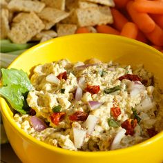 Light Garbanzo Pesto Dip: INGREDIENTS:  1 can (16 oz) BUSH'S® Garbanzo Beans, rinsed and drained 1 cup light sour cream 1/2 cup prepared basil pesto (usually in a jar, found in the Italian/pasta sauce aisle) 1/2 cup chopped sun dried tomatoes 1/2 cup red onion, diced 1/4 cup fresh basil, chopped 2 Tbsp lime juice Salt and pepper