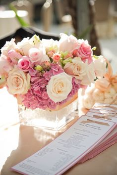 really like this arrangement - the pink hydrangea is a little dark but maybe pops of this could work?