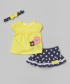This Petite Bears Yellow & Black Polka Dot Daisy Top Set - Infant by Petite Bears is perfect! #zulilyfinds