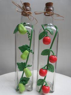 Glass Bottle Crafts, Diy Bottle, Bottle Art, Polymer Clay Flowers, Polymer Clay Crafts, Diy Clay, Diy Crafts To Do, Jar Crafts, Clay Jar