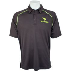 WVU Under Armour Syntax Polo in Charcoal with Neon Logo