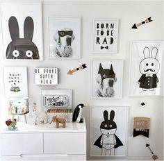 New décoratif photos affiche art pour chambre d'enfants bébé peinture noir et blanc batman / lapin affiches et gravures cadre comprend pas dans Peinture et calligraphie de Maison & Jardin sur AliExpress.com | Alibaba Group