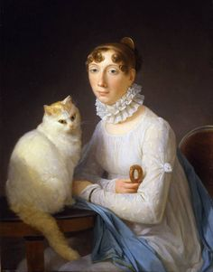 The Lady with her Cat (detail), by Marguerite Gérard, undated. [Very shallow crosswise part. Front hair in loose flat curls, curled inward. Off-center part (left side). Back hair drawn back smooth and tight into a bun on the back of the head, no height. Small fan-shaped comb.]