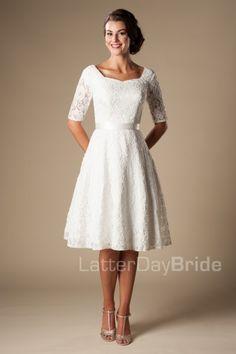 modest wedding dresses Marilyn half sleeve lace