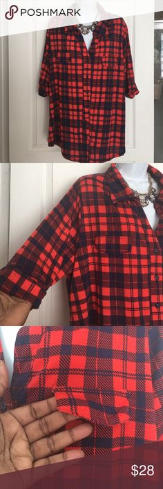 Plus Knit Plaid Shirt 3X Stretchy Knit shirt with color and Flap pocket on front.   3/4 sleeve top.   31 inches long.   Armpit to armpit 26 inches.  Has some stretch Ulta Tease Tops Button Down Shirts
