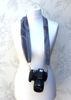 Grey Floral Camera Scarf, Adjustable Grey Camera Strap, Camera Accessory, Photographer Gift, Soft Greys Camera Scarf Strap, - pinned by pin4etsy.com