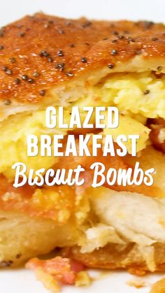 Glazed Breakfast Biscuit Bombs Glazed Breakfast Biscuit Bombs - the best way to start the day! Biscuits stuffed with scrambled eggs, bacon and cheese and topped with a sweet and savory glaze. Breakfast Party, Breakfast Dishes, Breakfast Casserole, Bacon Recipes For Breakfast, Egg Dishes For Brunch, Breakfast Ideas, Best Brunch Recipes, Brunch Foods, Healthy Brunch