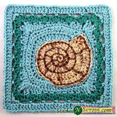 Free Pattern – Spiral Seashell Square   Stitches 'N' Scraps