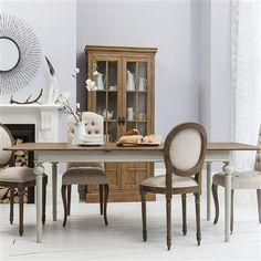 ACHICA | Maison Rectangle Extending Table, Cool Grey