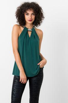 133c9ca448804 Suzy Shier Embellished Halter Top