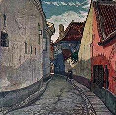 Mstislav Dobuzhinsky (1875-1957) - Vino, Side Street Piles, Bernardine, 1906