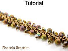 Bracelet Pattern, Beading Tutorial, St. Petersburg Chain, Beaded Jewerly, Beautiful Diagonal Stitch, Seed Beads, Drops, Flat Bracelet #3321