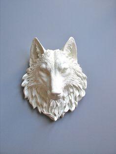 Faux Taxidermy Full Size Wolf Head Wall Decor