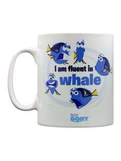 'I Am Fluent In Whale' - If you fell in love with Ellen DeGeneres' portrayal of the whimsical blue tang fish, this hilarious mug is a must-have! Coloured in white, multiple poses of Dory surround the outside.