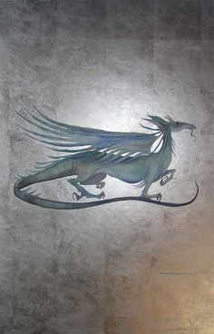 Verity's dragon, for The Farseer Trilogy by Robin Hobb, book three, The Assassin's Quest, watercolour painting of a dragon, by Jackie Morris, on a white gold leaf background.
