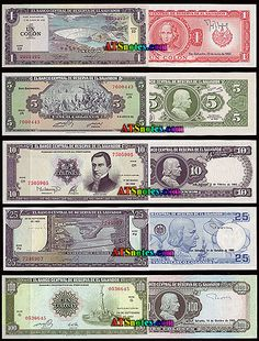 el salvadore currency | El Salvador banknotes - El Salvador paper money catalog and Salvadoran ...
