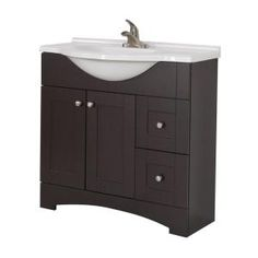 Glacier Bay, Del Mar 36 in. W Vanity with AB Engineered Composite Top in Espresso, DMSD36P2COM-E at The Home Depot - Mobile