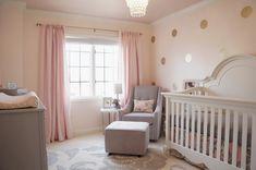 Pink, gold and gray nursery #goldpolkadots #polkadotwall