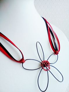 Wire Wrapped Flower Red and Black Ribbon Necklace