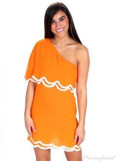 Live For The Sun Orange One Shoulder Dress   Monday Dress Boutique