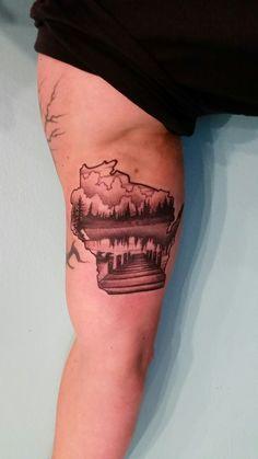 Wisconsin tattoo State Tattoos, Dad Tattoos, Neue Tattoos, Family Tattoos, Future Tattoos, Body Art Tattoos, Sleeve Tattoos, Tattoos For Guys, Cool Tattoos