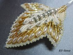Petal - embroidery for a prom dress by Elena Emelina Pearl Embroidery, Tambour Embroidery, Couture Embroidery, Beaded Embroidery, Embroidery Designs, Tambour Beading, Beadwork Designs, Lesage, Gold Work