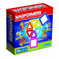 Rainbow Set - 30 pcs  Entertaining and Educational  Explore and experiment with these two geometric shapes, the square and the triangle, to create simple and complex 3-D models.  Feel the magnetic force and have countless hours of fun exploring the Magformers connection possibilities!