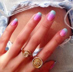 Pretty 3 tone nails ombre nails!