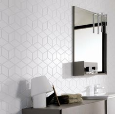 Earp Bros - Wall Tiles, Cube, Cube White - Earp Bros Tiles, Tiles Sydney tiles for laundry Bathroom Renos, Laundry In Bathroom, Washroom, Homebase Bathrooms, Mosaic Bathroom, Bathroom Wall, Kitchen Wall Tiles, Kitchen Backsplash, Bad Inspiration
