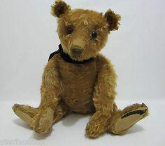 "STEIFF Antique Teddy Bear 20"" Apricot Mohair Shoe Button Eyes"