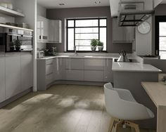 Inspiring Modern Grey Kitchen Design With Wooden Floor. This picture is one of many ideas on modern grey kitchen cabinets design. Dark Grey Kitchen Cabinets, Modern Grey Kitchen, Light Grey Kitchens, Paint For Kitchen Walls, Handleless Kitchen, Grey Kitchen Designs, Wood Floor Kitchen, Kitchen Units, Kitchen Cabinet Design