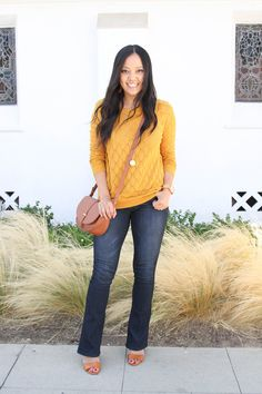 8 Types of Sweaters to Mix Up Your Wardrobe This Season Mustard Sweater + Bootcut Jeans + Heels + Cognac Bag Outfits Winter, Jeans Outfit Winter, Outfit Jeans, Sweater Outfits, Jean Outfits, Fashion Outfits, Outfits With Bootcut Jeans, Fashion Ideas, Fashion Inspiration